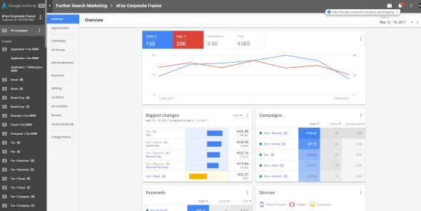 Google Adwords interface screenshot from March 2017