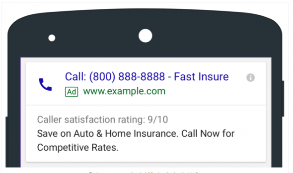 Picture of top of phone with Google ad