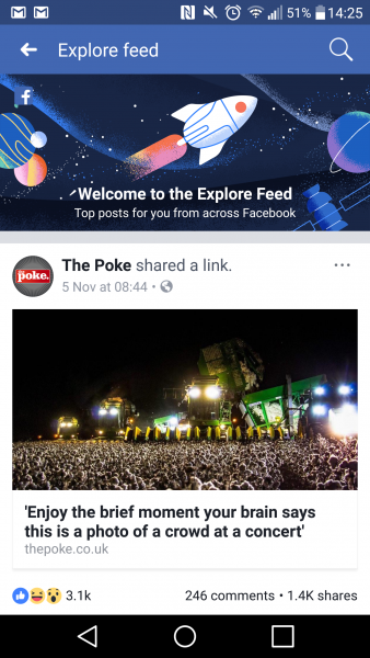 Facebook Explore feed screengrab