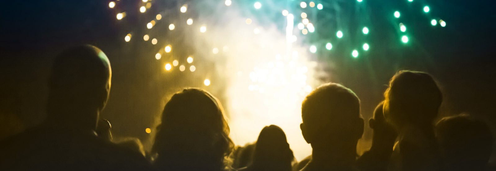 A silhouetted crowd look up at a firework display.