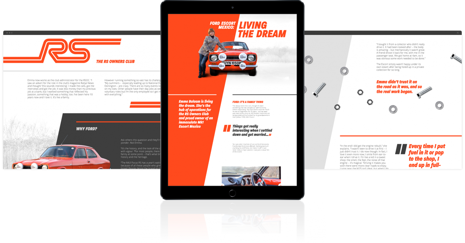 Examples of Further's engaging, insight-driven content, displayed across two web pages and a tablet.