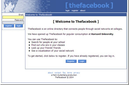 Screenshot of Facebook when it launched in 2004