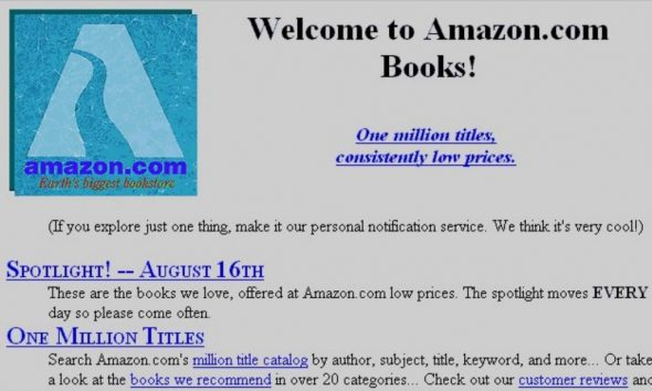 Screenshot of Amazon website at launch in 1994