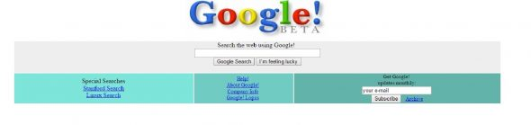 Screenshot of the first Google page in 1998
